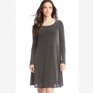 KAREN KANE LONG SLEEVE CHLOE METALLIC SHIFT DRESS